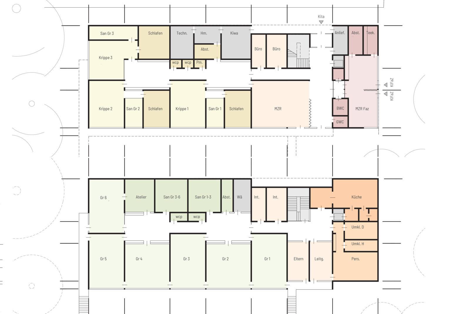 Neubau Kita und Familienzentrum Kändlerstraße - Grundrisse